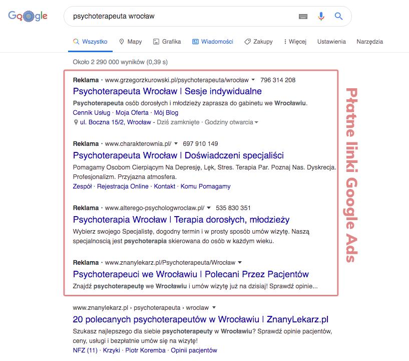 Płatne linki Google Ads w promocji gabinetu psychologicznego