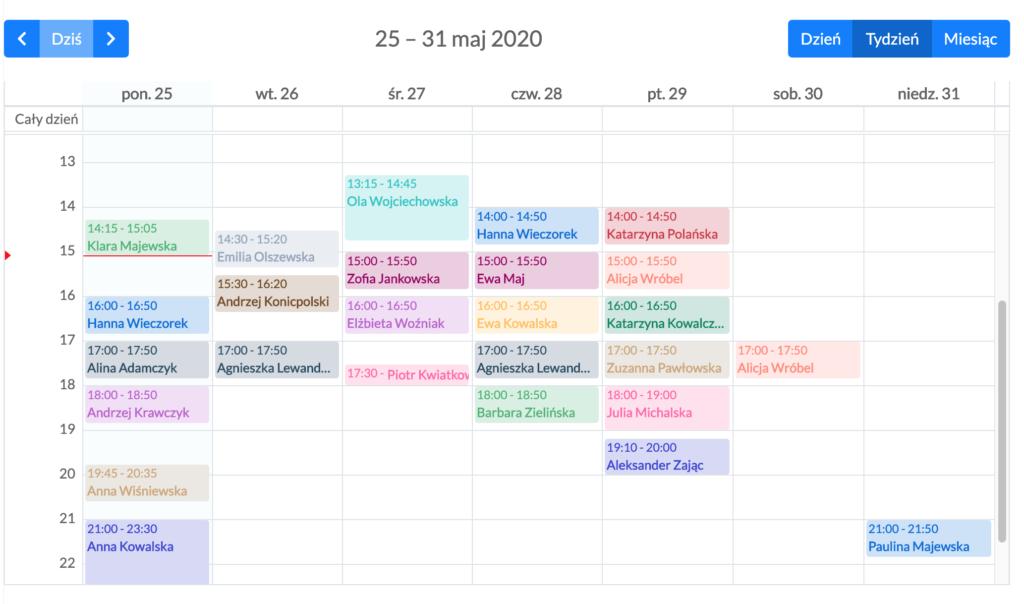 kalendarz w programie do obsługi gabinetu